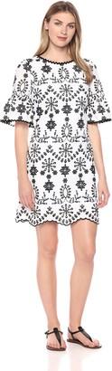 Jax Women's Embroidered Bell Sleeve Shift Dress