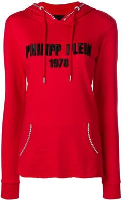 Philipp Plein logo embroidered hoodie