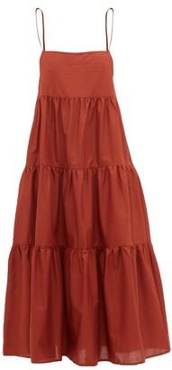 Matteau The Tiered Cotton Dress - Dark Red