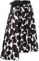 Marni leaf print asymmetric skirt - women - Cotton - 44