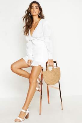 boohoo Shirred Crinkle Fabric Mini Dress