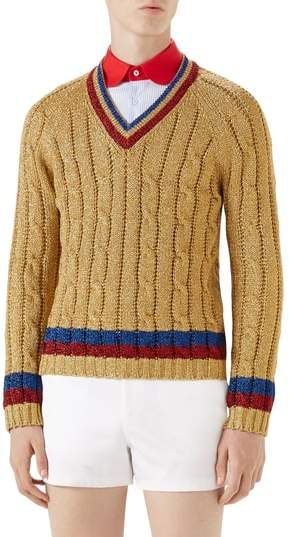 Gucci Cable Knit V-Neck Sweater