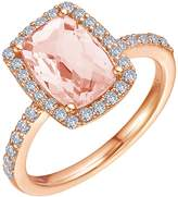 Lafonn Rose Gold Plated Sterling Silver Micro Pave Simulated Diamonds & Morganite Ring
