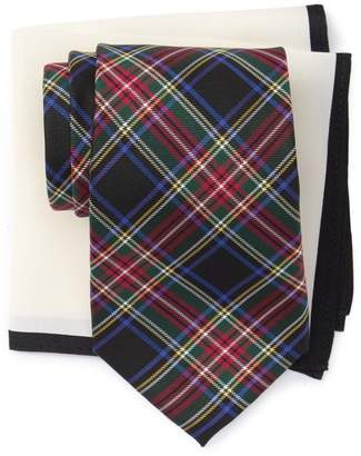 Tommy Hilfiger Royal Plaid Tie & Solid Silk Pocket Square