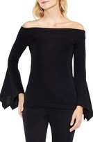 Vince Camuto Women's Off The Shoulder Handkerchief Bell Sleeve Sweater
