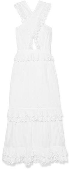Alice McCall Everything She Wants Tiered Ruffled Broderie Anglaise Cotton Dress - White