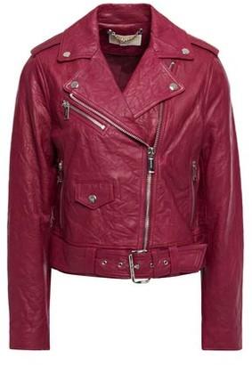 MICHAEL Michael Kors Cropped Belted Crinkled Leather Biker Jacket