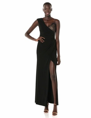 BCBGMAXAZRIA Azria Women's One Shoulder Lace Inset Gown