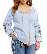 Blu Pepper Plus 3/4 Sleeve Embroidered Woven Tassel-Tie Top
