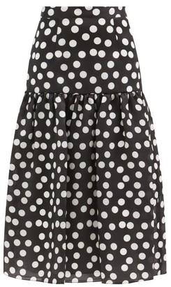 Carolina Herrera Polka-dot Silk-organza Midi Skirt - Black White