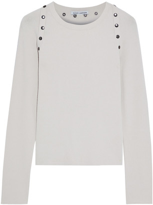 Autumn Cashmere Snap-detailed Textured Stretch-knit Top