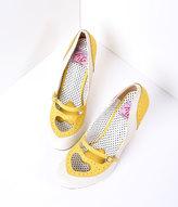 Pleaser USA Yellow & Cream Poppy Heart Spectator Heels