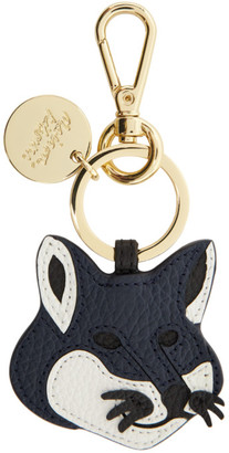MAISON KITSUNÉ Navy Leather Fox Head Keyring