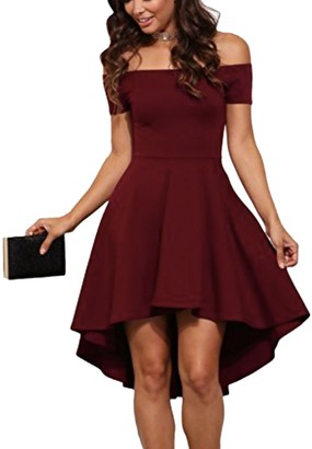 Famulily Women's Off Shoulder Summer Evening Cocktail Skater Dress(Small Wine)