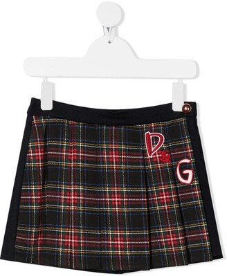 Dolce & Gabbana Kids D&G patch tartan skirt