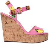 Dolce & Gabbana 130mm Bianca Faux Patent Leather Sandals