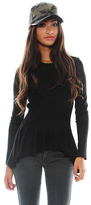 Torn By Ronny Kobo Alaina Long Sleeve Top in Black