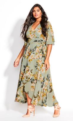 City Chic Magnolia Floral Maxi Dress - sage