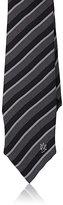 Alexander McQueen Men's Striped Silk Foulard Necktie-GREEN, BLACK