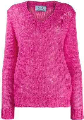 Prada open knit v-neck jumper