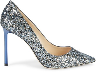 Jimmy Choo Romy Glitter Leather Stiletto Pumps