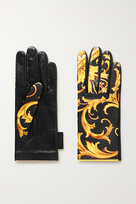 Versace Printed Leather Gloves - Black