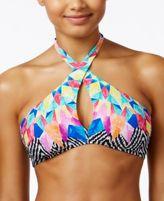 Bar III Feather Daze Crossover High-Neck Halter Bikini Top, Created for Macy's
