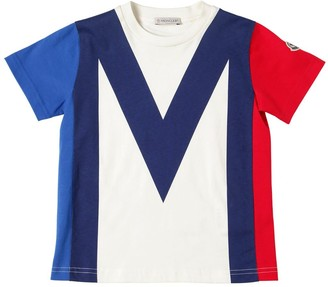 Moncler Color Block Cotton Jersey T-Shirt