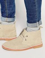 Bellfield Chukka Boots In Beige Suede