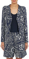 Chloé WOMEN'S EMBOSSED FLORAL PAISLEY CADY JACKET-NAVY SIZE 34 FR