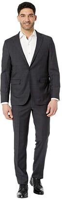 Cole Haan Slim Fit Plaid Suit (Charcoal Plaid) Men's Suits Sets