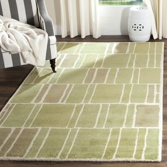 Martha Stewart Blocks Hand-Tufted Wool Green/Ivory Area Rug Rug Size: Rectangle 5' x 8'