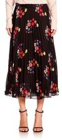 Tanya Taylor Pleated Floral Skirt