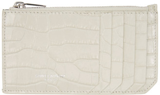 Saint Laurent Off-White Croc Fragment Card Holder