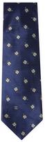 Chanel Vintage Blue Clover Silk Jacquard Tie