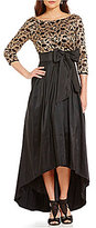 Eliza J Boat Neck Embroidered Bodice Hi-Low Ball Gown
