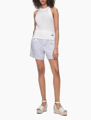 Calvin Klein Linen Blend Chambray Belted High Waist Shorts