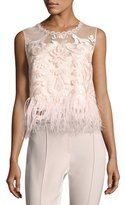 Elie Tahari Dakotra Feather-Trim Blouse