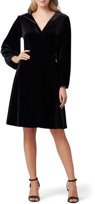 Tahari Velvet Long Sleeve Faux Wrap Dress