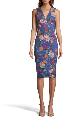 Nicole Miller Reine Rose Cotton Metal Midi Dress