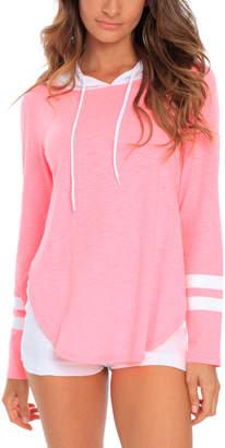 Miami Style Women's Sweatshirts and Hoodies Neon - Neon Pink & White Split-Hem Varsity Stripe Hoodie - Women
