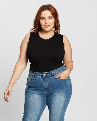 Atmos & Here Atmos&Here Curvy - Women's Black Bodysuits - Kayla Bodysuit - Size 18 at The Iconic