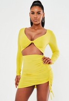 Missguided Lime Long Sleeve Cut Out Front Mini Dress