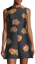 RED Valentino Sleeveless Flying Bouquet Brocade A-Line Dress