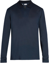 Brioni Long-sleeved cotton and silk-blend polo shirt