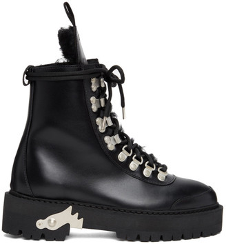 Off-White Black Shearling and Leather Hiking Boots