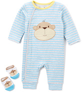 Vitamins Baby Blue & Yellow Stripe Monkey Playsuit & Socks - Infant