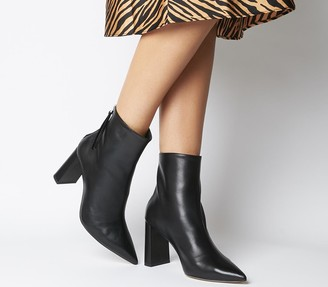 Office Alpha Pointed Back Zip Boots Black Leather