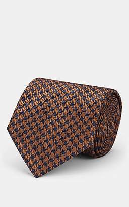 Brioni Men's Houndstooth Silk Jacquard Necktie - Brown