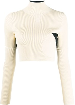 Off-White Ribbed Knitted Cropped Top